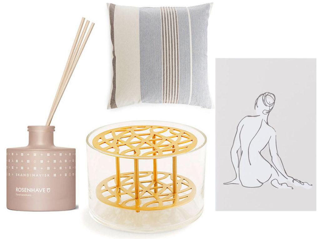 collage, vas, doftpinnar, dekoration